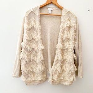 Chico's || Off White Cream Fringe Sweater